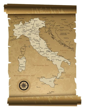 malta map: Old paper Italy map