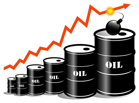 oil barrel with price graph Vector