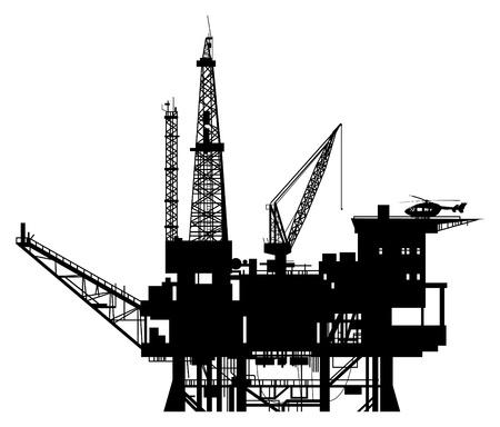oil barrel: Plataforma de perforaci�n de petr�leo silueta Vectores
