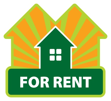 new opportunity: Color label house for rent Illustration