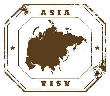 Grunge rubber stamp with the text Asia written inside the stamp Vector