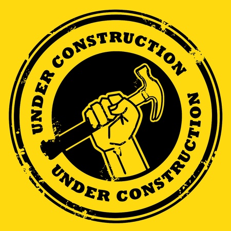 Grunge rubber stamp with the hand holding a hammer and the words under construction written inside Vector