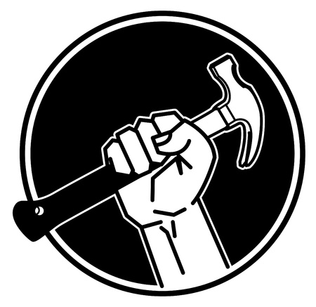 people holding sign: Hand holding a hammer Illustration