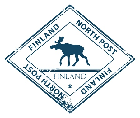 Grunge rubber stamp with word Finland, North Post inside Vector