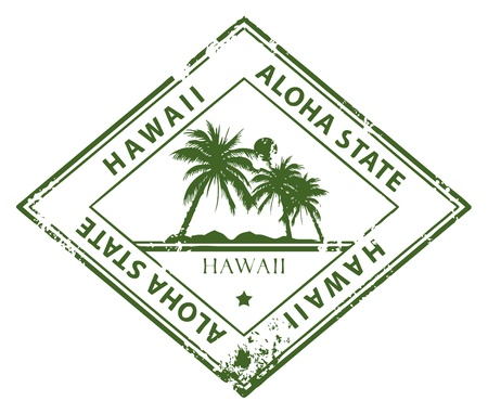 island state: Grunge rubber stamp with palms and the word Hawaii inside