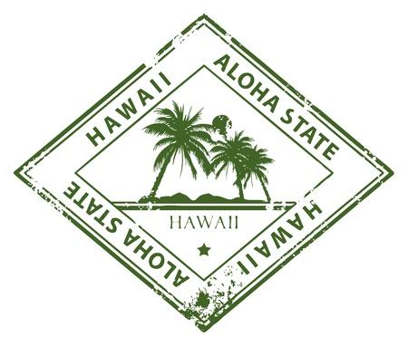 aloha: Grunge Stempel mit Palmen und das Wort Hawaii innen