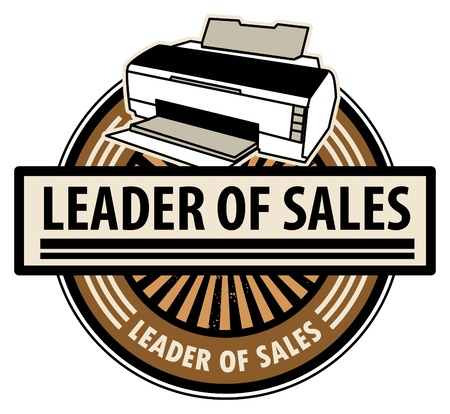 Sticker with the printer and word Leader of sales written inside Vector