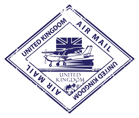 Grunge rubber stamp with airplane and the word Air Mail, United Kingdom inside Vector