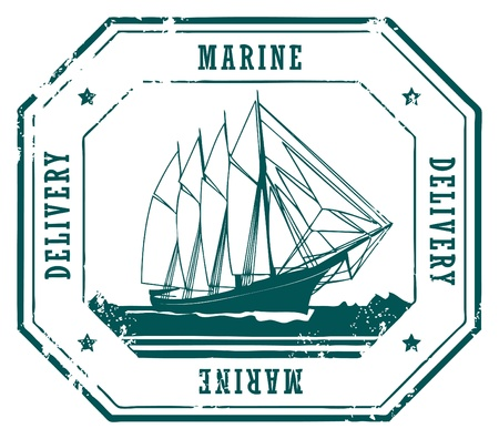 post stamp: Grunge rubber stamp with sailing ship and text Marine Delivery
