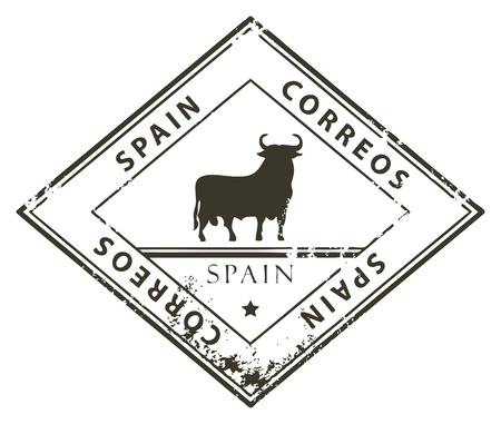 Grunge rubber stamp with word Spain, Correos inside Stock Vector - 14311383