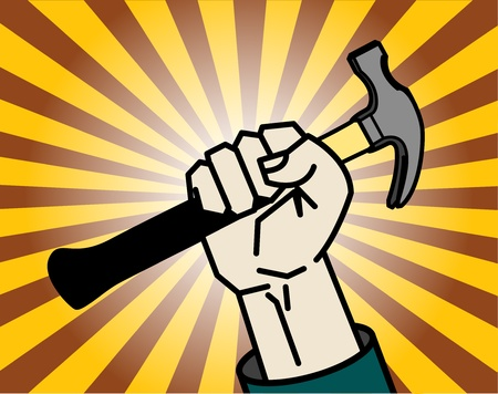 justice hammer: Abstract background with hand holding a hammer Illustration