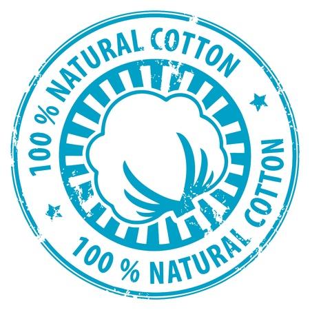 Resumen grunge sello de goma con el algodón y el texto de algodón 100 natural escrita en el interior Ilustración de vector