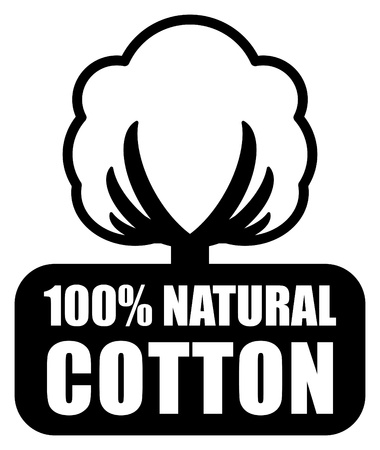 cotton plant: Cotton label Illustration