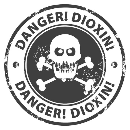 dioxin: Grunge rubber stamp with the text Danger, Dioxin written inside the stamp