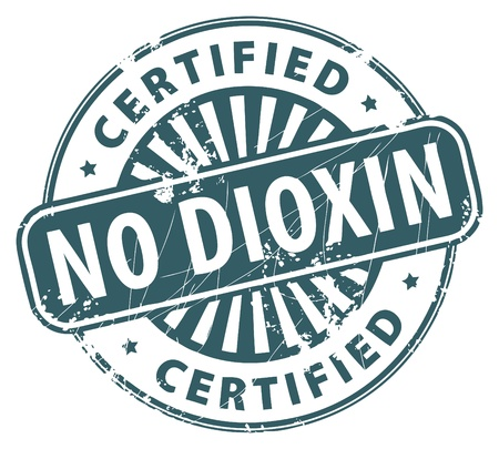 dioxin: Grunge rubber stamp with the text No Dioxin written inside the stamp
