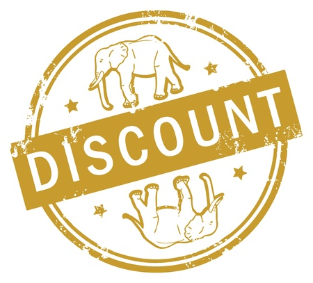 Abstract rubber stamp with elephant and the text Discount inside Illustration