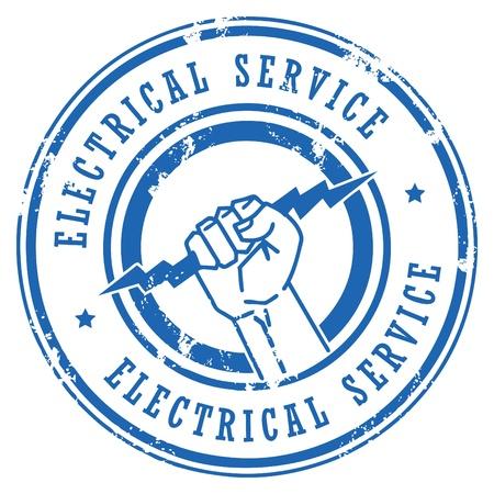 rayo electrico: Grunge sello de goma con el Servicio Eléctrico palabras escritas en el interior Vectores
