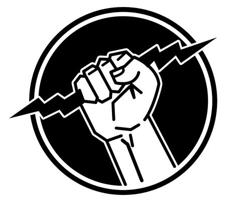 blitz symbol: Blitz in der Hand Illustration