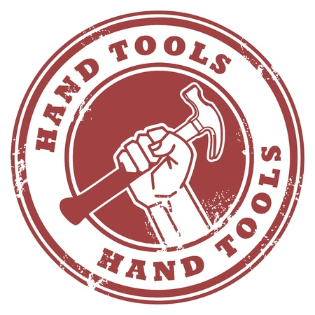 handy: Grunge rubber stamp with hand holding a hammer and the words Hand Tools inside