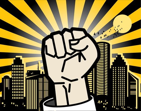 Abstract urban background with fist
