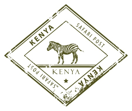 Grunge rubber stamp with word Kenya inside