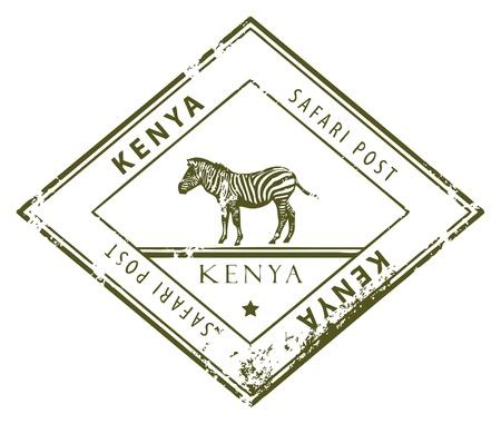 Grunge timbro di gomma con la parola all'interno Kenya
