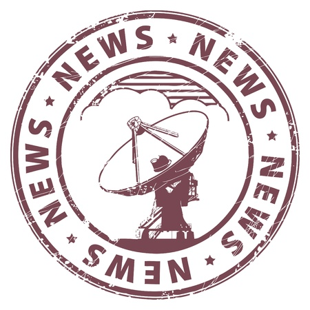 international news: Grunge rubber stamp with radio satellite and the word News written inside the stamp