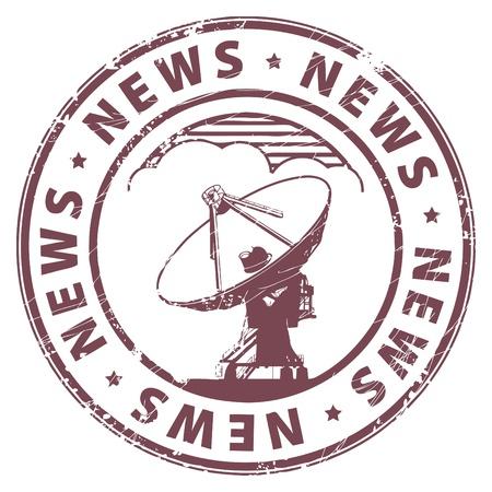 icone news: Tampon en caoutchouc grunge avec la radio satellite et les Nouvelles mot �crit � l'int�rieur du timbre