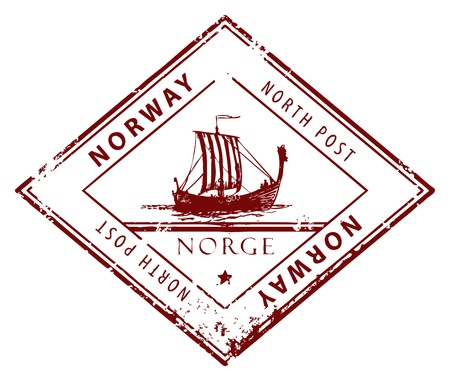 Grunge rubber stamp with words Norway, North Post inside Vector