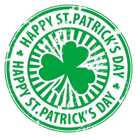st  patrick s day: Green grunge rubber stamp with clover and the text Happy St  Patrick s Day written inside Illustration