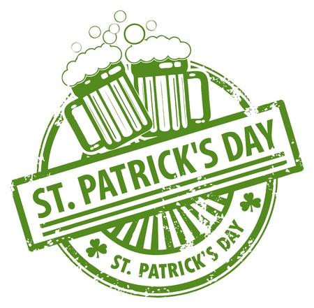 st patrick s day: Verde timbro di gomma grunge con boccali di birra e il giorno di San Patrizio il testo scritto dentro s