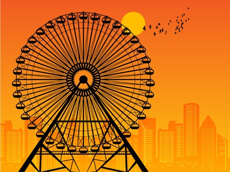 Silhouette of a Ferris Wheel at sunset Vector