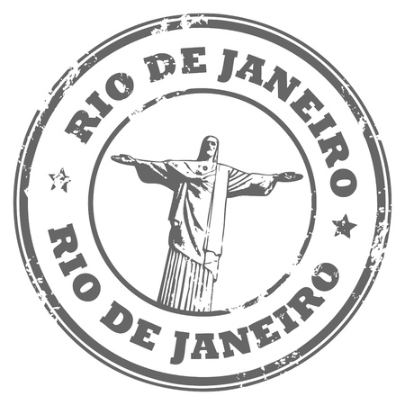 Grunge rubber stamp with the statue of the Christ the Redeemer and text Rio de Janeiro Stock Photo - 14368997