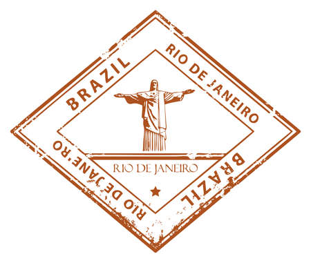 custom letters: Grunge rubber stamp with word Rio de Janeiro, Brazil