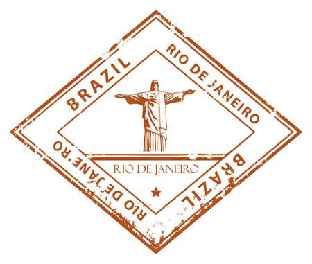 Grunge rubber stamp with word Rio de Janeiro, Brazil Stock Vector - 14368991