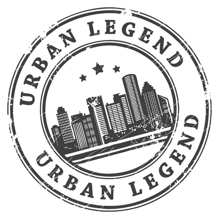 urban jungle: Black grunge rubber stamp with building shapes and the text Urban Legend written inside