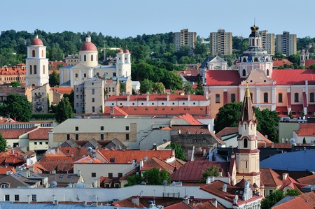 vilnius: Vilnius old town panorama  Summer time Stock Photo