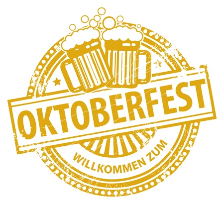 oktober: Grunge rubber stamp with beer mugs and the text Oktoberfest written inside the stamp Illustration