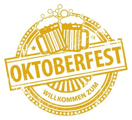 Tampon en caoutchouc grunge avec chopes à bière et l'Oktoberfest texte écrit à l'intérieur du timbre