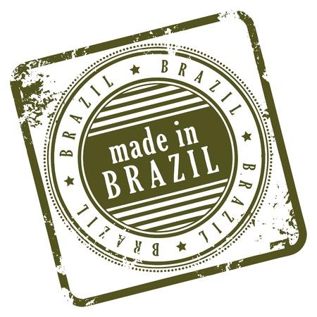 brasil: Grunge rubber stamp made in Brasil Illustration