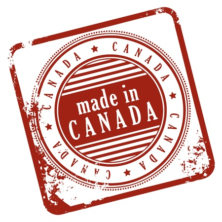 canada stamp: Grunge rubber stamp made in Canada Illustration
