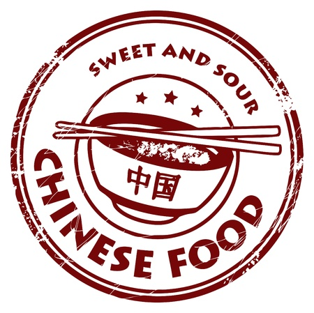 chinese noodle: Grunge rubber stamp with text Chinese Food written inside Illustration
