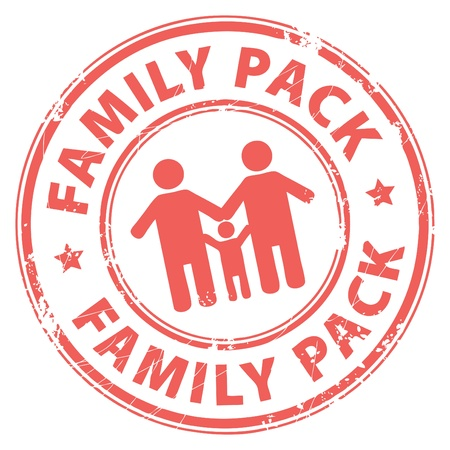 extended family: Grunge rubber stamp with the text Family Pack inside