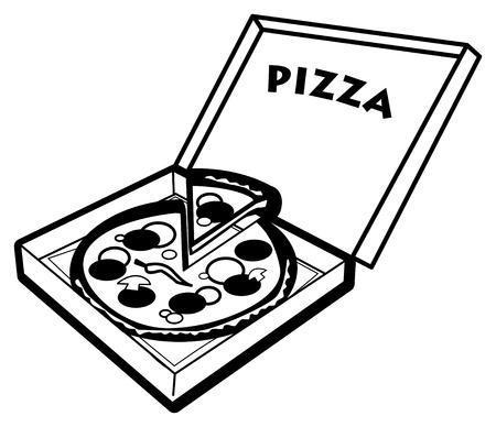 caja de pizza: Pizza en el cuadro