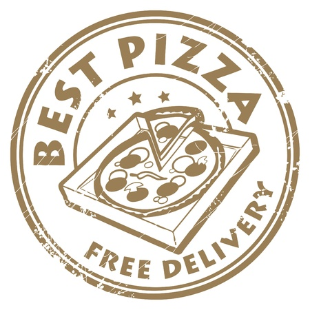 pizza delivery: Grunge rubber stamp with pizza in box and the text Best pizza - free delivery written inside