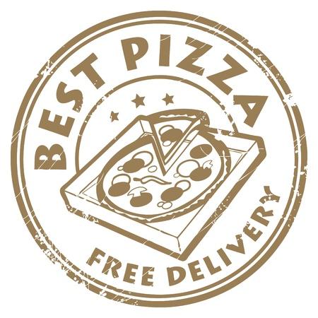 caja de pizza: Grunge sello de caucho con la pizza en la caja de la pizza y el mejor texto - la entrega gratuita por escrito en el interior Vectores