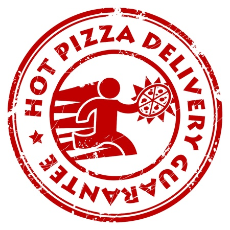 Grunge rubber stamp with pizza delivery man and the text Hot Pizza Delivery Guarantee written inside Vector