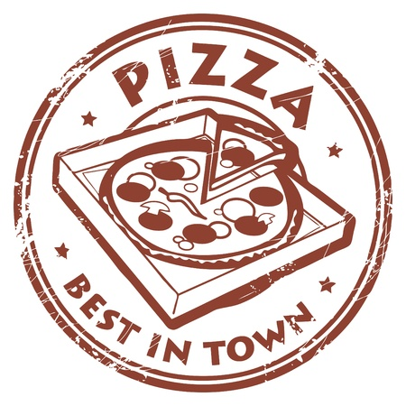 pizza slice: Grunge rubber stamp with pizza in box and the text Pizza - best in town written inside Illustration