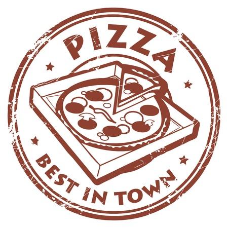 Grunge rubberen stempel met een pizza in doos en de tekst Pizza - de beste in de stad schriftelijk binnen