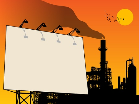 Outdoor billboard and oil refinery